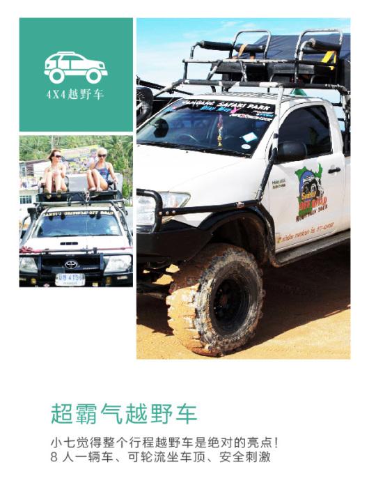 苏梅岛 丛林4x4越野一日游(大马力四驱车 打包岛内众多景点 精彩动物