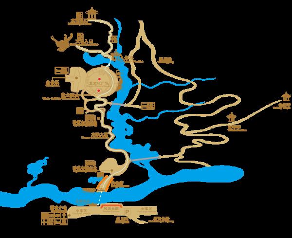 新化县资水湖畔是一个大型的溶洞群,有九层洞穴(听起来像电影九层妖塔似的),有中国最大的钟乳石,已开发长度1893米。溶洞内有一部分需乘船荡舟游玩,石笋、石钟乳形象万千,栩栩如生,在灯光的映衬下,犹如仙境。 -4.1.2 梅山龙宫导览图   梅山龙宫景区导览图  梅山龙宫溶洞内导览图  -4.