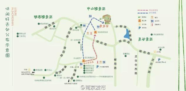 南京中山陵手绘地图