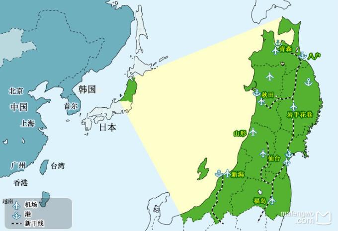 北海道,其实东北地区是由青森县,岩手县,宫城县,秋田县,山形县,福岛